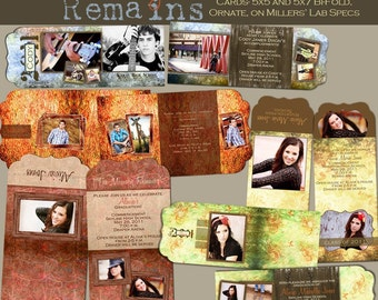 The Memory Remains Graduation Folded LUXE Announcement Collection- Set of 5 custom photo templates for photographers on M