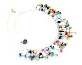 fringe necklace / fun confetti necklace / wire wrapped colorful beads and charms