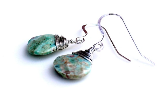 teardrop earrings. gemstone earrings.  sterling wrapped green with specks of purple