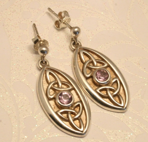Vintage amethyst and sterling silver earrings. Celtic style