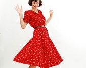 Vintage 1950s Dress - 50s Swing Dress - Crimson Red Polka Dot Print