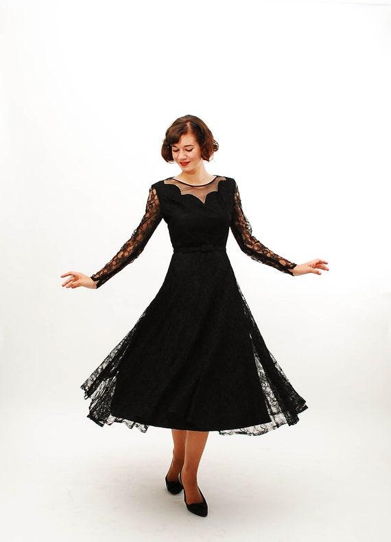 Vintage 1940s Lace Dress - 40s Cocktail Dress - Black Lace