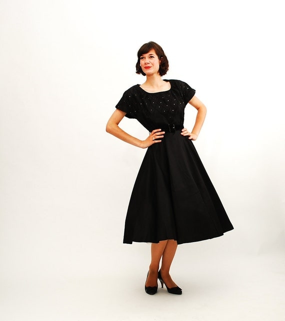 Vintage 1950s Party Dress - 50s Cocktail Dress - Black and Rhinestone Full Circle Skirt