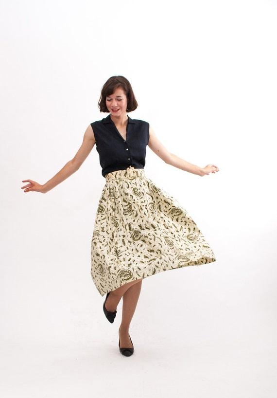 Vintage 1950s Full Skirt - 50s Full Skirt - Avocado & Ivory Filigree Print