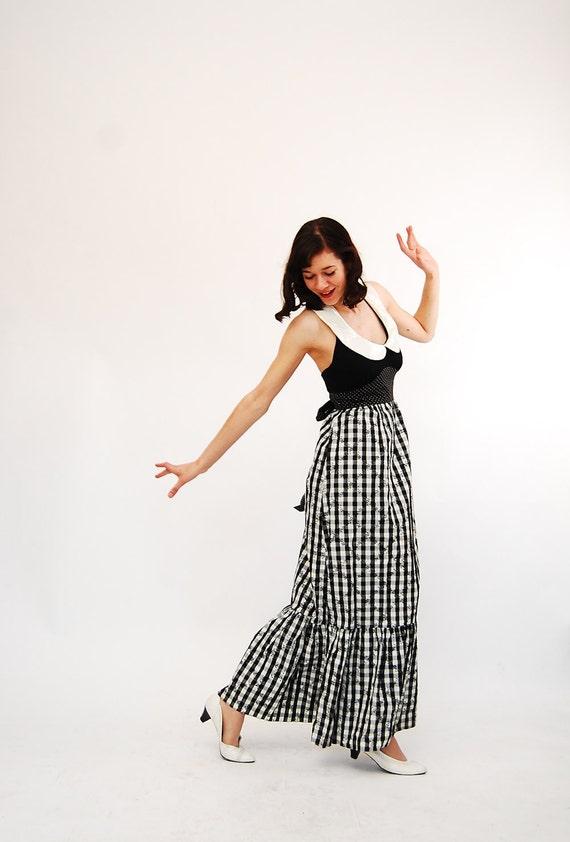 Vintage 1970s Halter Dress - 70s Maxi Dress - Black and White Gingham Print