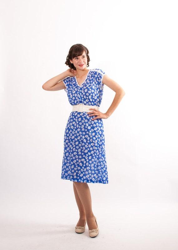 Vintage 1980s Dress - 80s Floral Dress - Blue and White