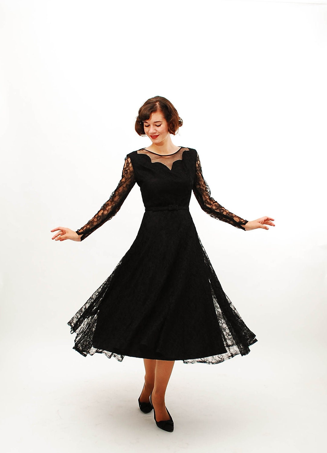 Vintage 1940s lace dress 40s cocktail dress black lace for Cocktail 40 ans