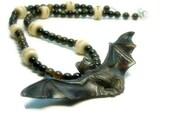 Bat Necklace, Carved Bone, Black Tigers Eye, Bat Jewelry, Unisex, Halloween, Gothic, Sculptured,
