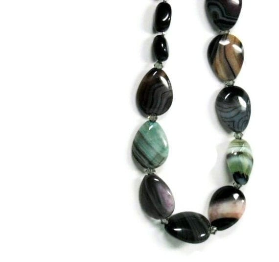 SALE  Botswana Agate Necklace, Black Onyx Nuggets, Sterling Silver, Banded Agate, Gemstone, Fall, Winter