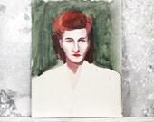 vintage 1940s original painting - lady no. 2