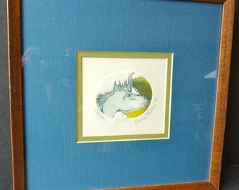 Unicorn Etching Picture Signed N. Niemec 1979 Wood Frame Matted Framed Blue Green Original Fantasy Print Home Decor 11 x 11 in