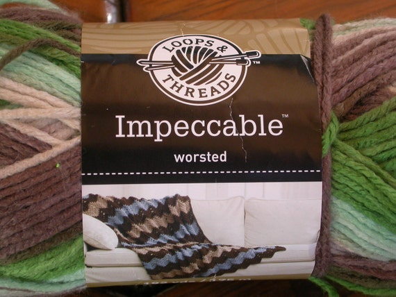 Yarn, Loops and Threads Impeccable Ombres Vegan Acrylic, Worsted, Variegated Hiking, Green, Brown Beige, 1 skein, knit, crochet