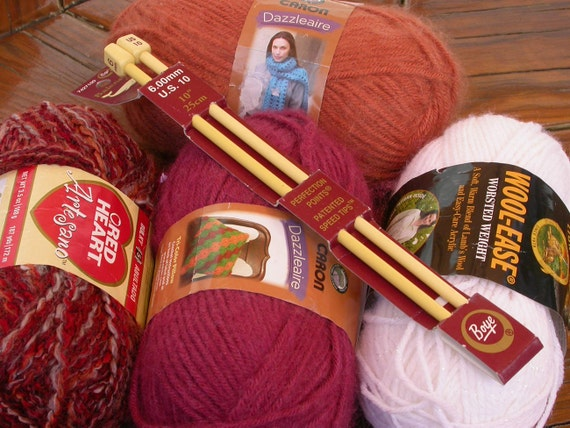 Yarn and Knitting Needles Project, Red Heart Artesano, Caron Dazzleaire, Lion Brand Wool Ease, lot of 4 skeins Brick Red, Rust, White