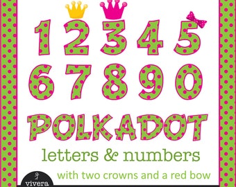 Pink on Green Polkadot Letters and Numbers with Pink Outline and additional Bow, and Crowns