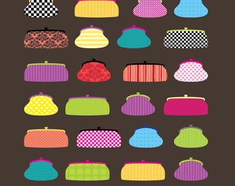 Digital Clip Art - Party Print Purses