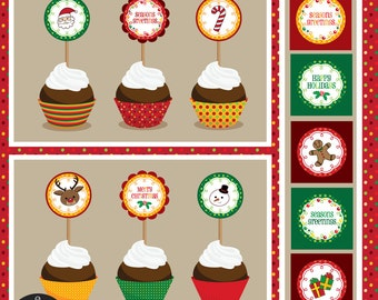 Printable Party - Christmas - Cupcake Wrappers and Toppers
