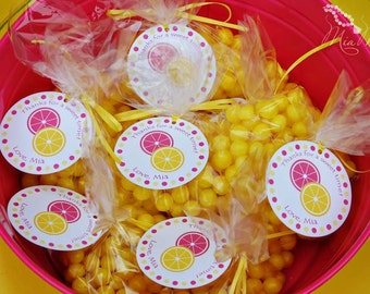 Lemonade Party Custom Favor Tags - Sweet Pink Lemonade Collection