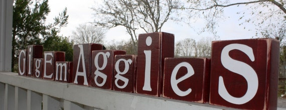 CUSTOM COLLEGE BLOCKS - Aggie - Gig Em - College - Maroon - Personalized - Letters - Name - School