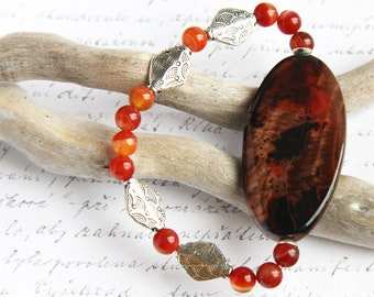 Boho Jewelry Gift Agate Slice Bracelet Orange Brown Stone Bracelet Gemstone Carnelian Bracelet Silver Diamond Beaded Bracelet Bohemian Gift