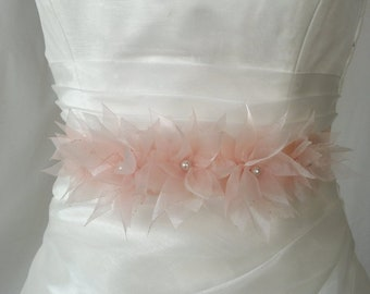 Handcraft Five Peach Lotus Bridal Wedding Dress Sash Belt