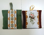 Two vintage French ribbon lavender bags. Bouquet of flowers