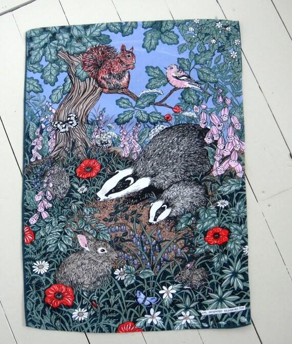 Woodland flora and fauna tea towel