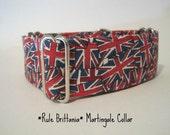 Union Jack Martingale Collar, 1.5 Inch Martingale Collar, Martingale Dog Collar, Union Jack Dog Collar, Red, White, Blue, Greyhound