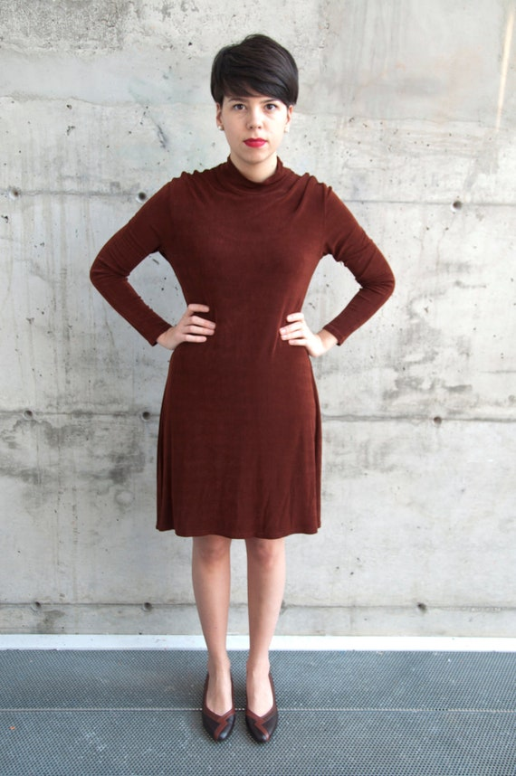 ON SALE Vintage Long Sleeve Turtleneck Stretch Dress