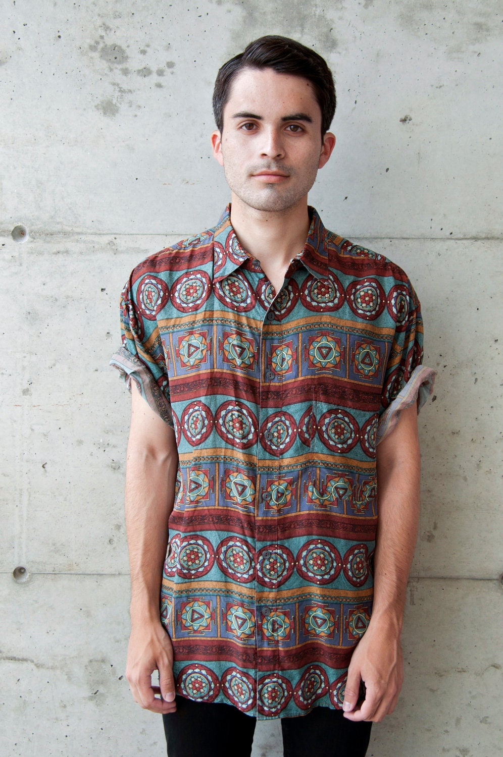 Vintage Abstract African Short Sleeve Silk Button up Shirt for