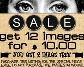 Special price pack Buy 10 get 12 images Digital collage sheets for Iron on transfer Burlap pillows Papercrafts Tote bags Decoupage /sp12