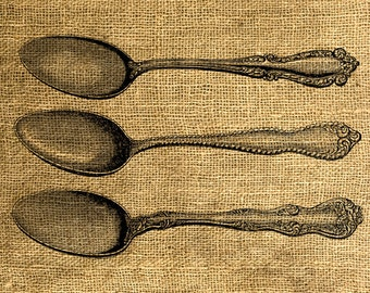 INSTANT DOWNLOAD Vintage Spoons Illustration - Download and Print - Image Transfer - Digital Sheet by Room29 Sheet no. 655