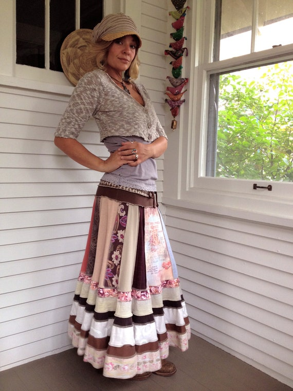 Eco long boho Skirt, clothing, upcycled, patchwork, festival, hippie,cream, peach and brown  mix, size M/L  by Zasra