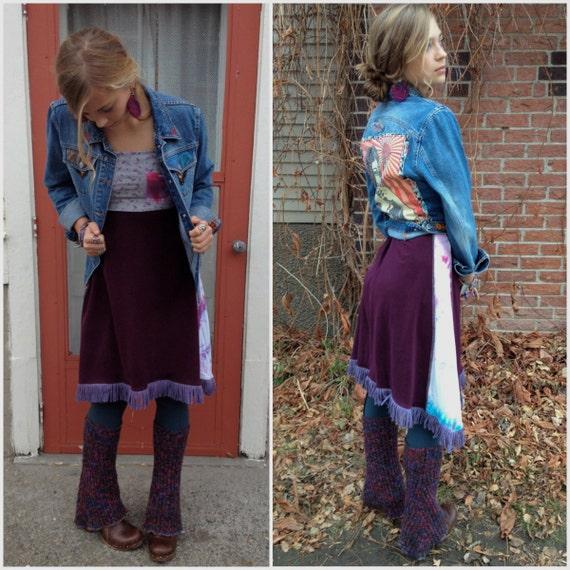 Eco tube dress or skirt, size S, upcycled, clothing, hippie, festival, pocket applique, fringe, boho dress, by Zasra
