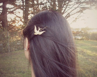 Gold Bird Bobby Pin Bridesmaid Hair Clip Boho Bohemian Free Spirit Rustic Woodland Wedding Bridal Vintage Style Accessories Womens Gift