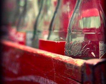 Coke Classic Photo, Vintage Fine Art Photography Print, Pop Bottles Red Wooden Weathered Crate