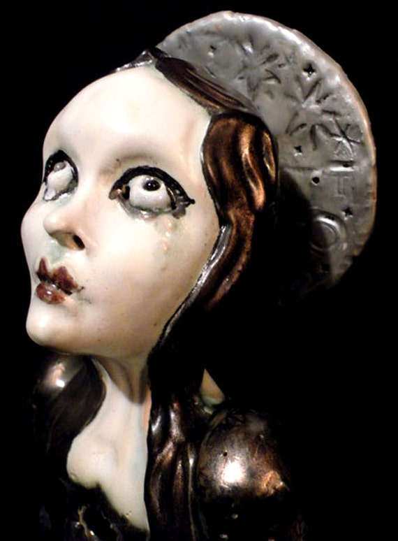Weeping Reliquary art Bust...ooak Mary Magdalene ooak sainT...unique handmade kiln fired doll gift