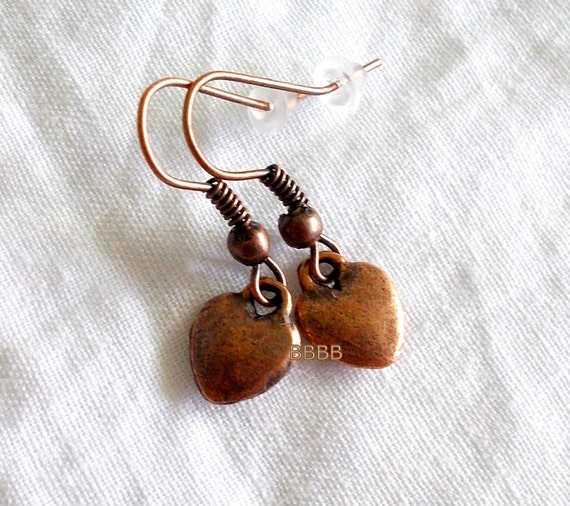 Antique Copper Metal Heart Charm Dangles with Metal French Hooks Earrings