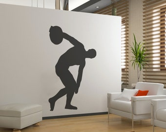 Vinyl Wall Decal Sticker Discus Thrower Statue Silhouette OSMB539s
