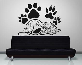 Vinyl Wall Decal Sticker Sleepy Cat and Dog OSAA602s