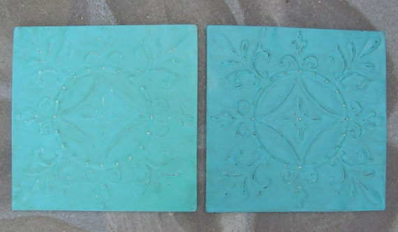 Pair of Tin Wall Hangings Beach Cottage Aqua & Turquoise Wall Decor