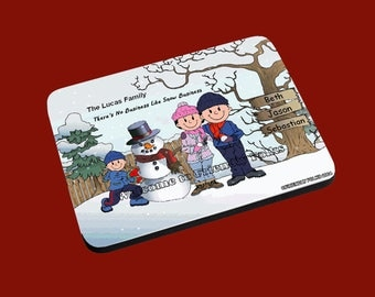 personalized Personalized Snowman and Family w 1 Boy image Mouse Pad