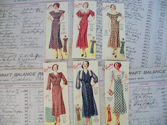 Vintage Edua May Frocks Bookmarks-Set of 6 Different-1930's or 1940s