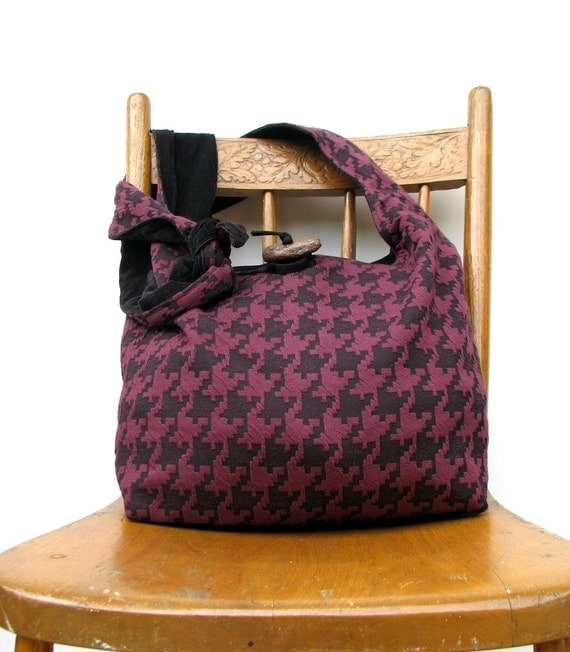 CROSS BODY BAG Long Strap Hobo Bag Slouch Bag Boho Bag Crossbody Hobo Bag Crossbody Bag Houndstooth Bag Burgundy Bag Black Crossbody Bag