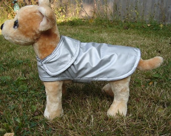 Dog Raincoat - Silver Raincoat with Floral Fleece Lining - Size XX Small 8 to 10  Inch Back Length - Or Custom Size