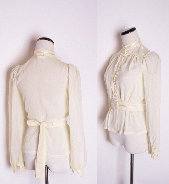 Gunne Sax Vintage Sheer Blouse / Gunne Sax / Blouse / Blouses / Vintage Blouse / Ivory / Shirt / Bohemian / Ivory / 1316