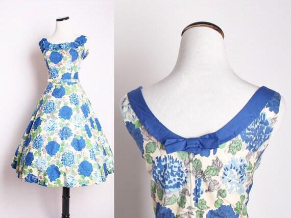 Reserved - Vintage 1950s Cocktail Dress / Dress / Dresses / Vintage Dress / 50s Dress / Blue Roses / Cotton / Alternative Wedding /  1366