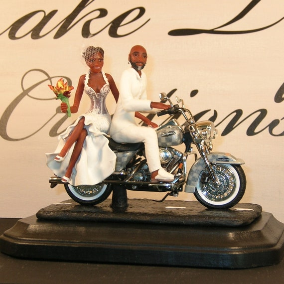 Custom Order Motorcycle Wedding Cake Topper By
