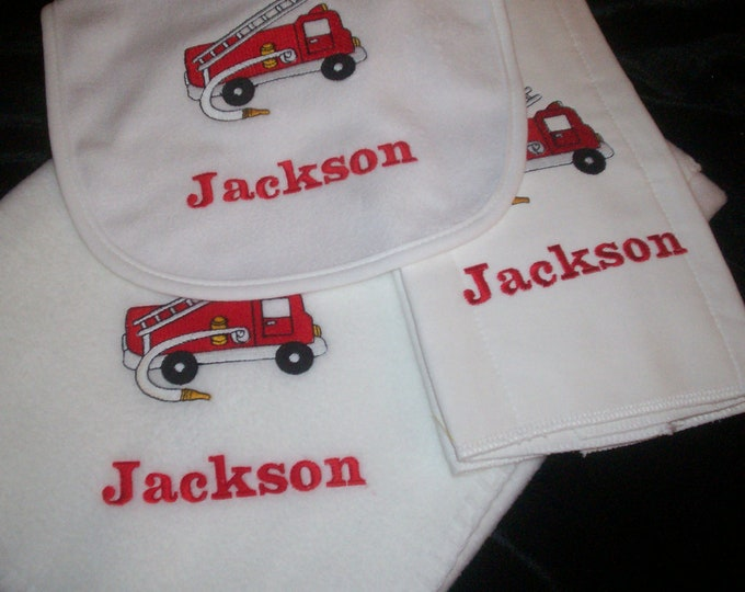 Fire truck baby personalized blanket bib burp set - Fireman embroider gift set - Firefighter baby blanket - Personalize Fire Truck blanket