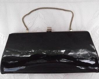 Vintage 1960s Purse Clutch Handbag Evening  Black Patent Leather Chain Handle