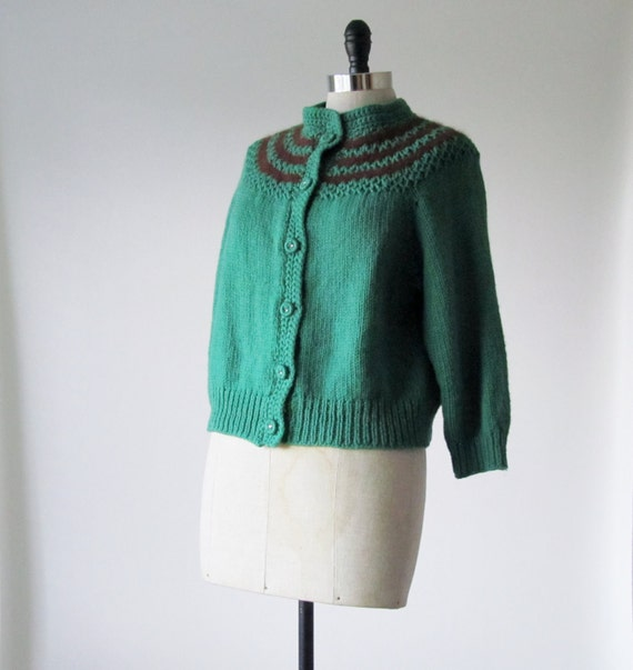 1930s Dress Sweater - 1940s Dress Sweater - Vintage Hand Knit Cardigan in Green & Brown
